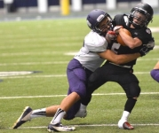 Torin Palmer fights for yardage against Havasu