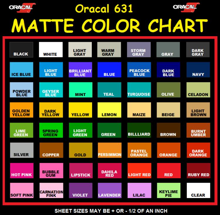 Oracal 631 Vinyl Color Chart Rebellions