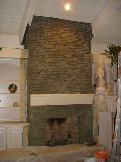 Cement stack stone fireplace